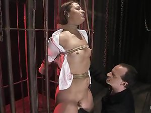 Sweating babe Ten gets belted on the device and tortured hard