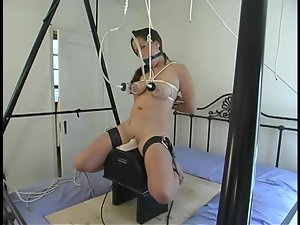 Hog tied Butter gets her pussy toyed with different dildos