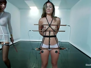 Charged iron bars squeeze her tits, while wires charge her pussy and ass