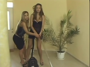 Hot chicks in skirts have passionate lesbian sex in a bedroom