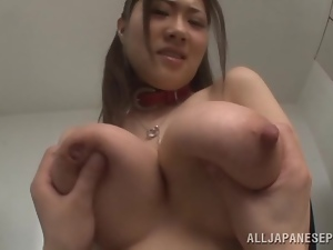 Sayuki Kanno blows after getting her big natural tits massaged