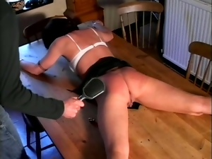 Steff gets her pussy and ass beaten by some guy in the kitchen