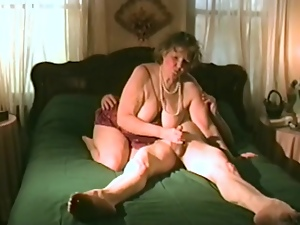 Horny granny rides her husband's hard cock
