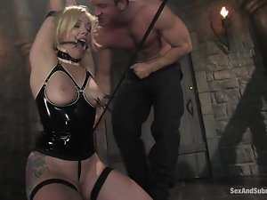 Smoking hot blond is doing some hot things with her master's dick