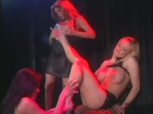 Three magnificent strippers in hot lesbian scenes