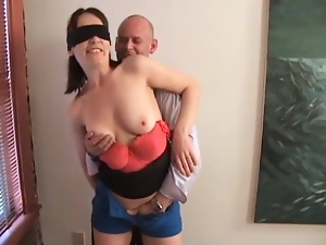 Busty brunette titty fucks and jerks a big cock off