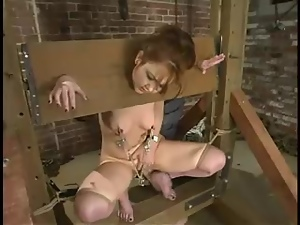 Submissive Babydoll gets bound and toyed by a machine