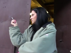Clair Brooks smokes a cigarette and then rides a dick