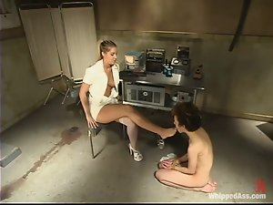 A kinky slut gets her pussy toyed and fucked by a nurse