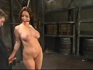 Big tittied Christina gets clothespinned and pussy toyed