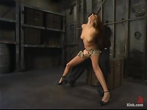 Long-haired Veronica Stone gets bound and toyed