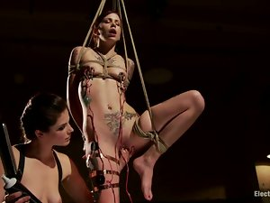 Skinny Krysta Kaos gets tied up and tortured with electricity