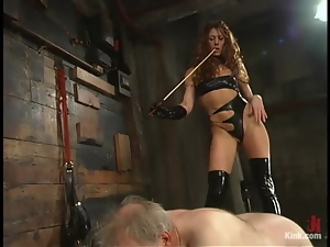 Beautiful mistress is dominating over that grandpa