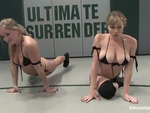 Four salacious lesbians enjoy fighting and fucking on tatami