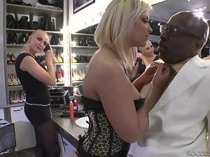 Adorable blondie gets rammed by Black guy in a backstage