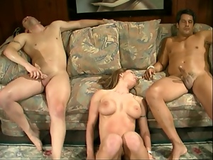 Babe gets sandwiched with two men from sides