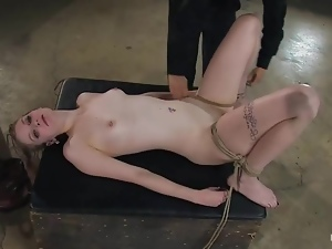 Charming blonde Ela Darling  enjoys being tied up and humiliated