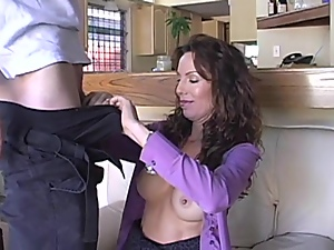 Sexy mom blows in the kitchen and gets fucked and facialed