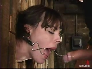 Dana Dearmond gets brutally fucked from behind while being in a pillory