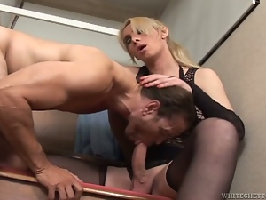 Filthy midget boss is fucking her employee at work