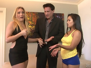 Lustful girls fuck big cocked guy and get facialed