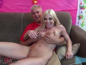 Christie Stevens gives a blowjob and gets jizzed on her tits