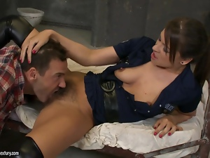 Savannah Secret gets her hairy holes licked and fucked in a jail