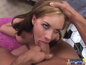 Hot Brandi Edwards fucks in a bedroom and gives sloppy blowjob