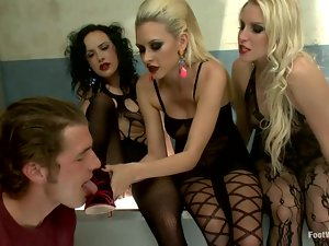 Three sexy babes get fucked and then jizzed on their feet