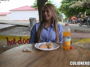 Delicious Latina Alejandra is in love with that monster cock