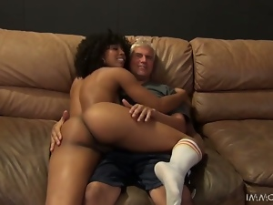 Curly Misty Stone blows a dick and gets nailed hard