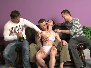 Three dudes make Sharon drunk and fuck her so hard