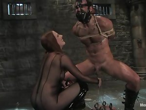 Smoking hot redhead chick is going to take over a man in BDSM