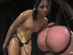 Mika Tan humiliates a man before fucking his ass with a toy