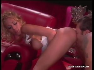 Curly blonde in sexy lingerie gets fucked nice on a sofa