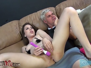 L. Milano gets her tits decorated and gives a hot blowjob