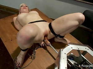 Superb Lorelei Lee gets tied up and toyed in a classroom