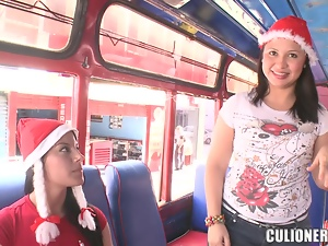 Sexy Latina in a Xmas hat gets rammed in a bus
