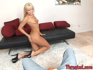 Luscious blondie in high heels is taking him in her mouth