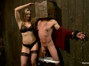 A guy gets tormented and punished by Tanya Tate in BDSM scene