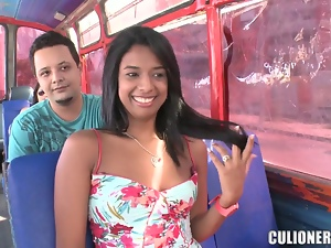 Charming brunette Susan blows and gets fucked doggy style in a bus