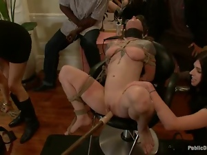 Public BDSM show in the barber's shop