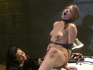 Sexy Ashlynn Leigh gets tied up and toyed in interrogation room