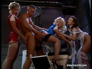 Three sexy nurses share a hard prick in a basement