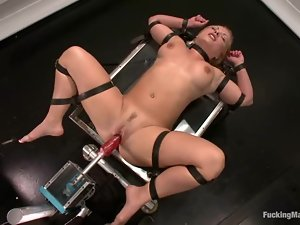 Katja Kassin gets double penetrated by a fucking machine and loves it