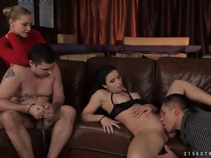 Cuckold cuffed as his lady gets eaten out