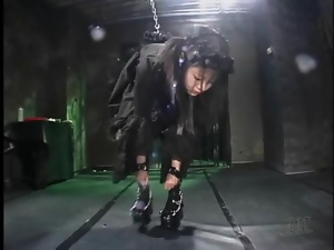 Naughty black dress on chained up Japanese girl