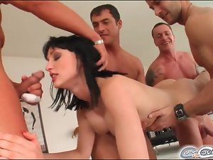 Sexy girl with fake tits sucks dicks for facials