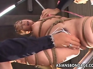 Delicious Asian gal has her pussy stimulated during bondage