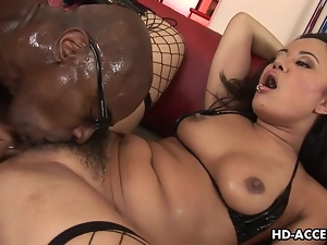 Asian slut Annie Haze enjoys interracial anal sex